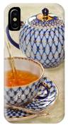 A Cup Of Tea Tea Being Poured Into A China Cup IPhone Case