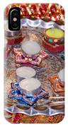 A Decorated Hindu Prayer Thaali With Wax Candles Oil Lamps IPhone Case