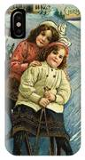 A Merry Christmas Postcard With Sledding Girls IPhone Case