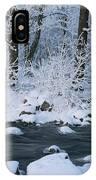 A Stream Running Through Snowy Woodland IPhone Case