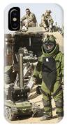 A U.s. Marine Dressed In A Bomb Suit IPhone Case