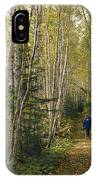 A Woman Walks Down A Birch Tree-lined IPhone Case
