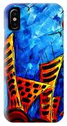 Abstract Cityscape Art Original City Painting The Lost City II By Madart IPhone Case
