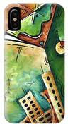 Abstract Martini Cityscape Contemporary Original Painting Martini Hour By Madart IPhone Case