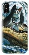 Alligator Eating Fish IPhone Case