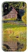 An Old Barn Reflected In The Pond Water IPhone Case