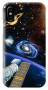 Artwork Of Hubble Space Telescope Over Earth IPhone Case