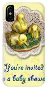 Baby Shower Invitation - Yellow Ducklings Figurine IPhone Case