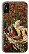 Basket Of Bread In A Poppy Field IPhone Case