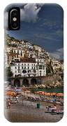 Beach Scene In Amalfi On The Amalfi Coast In Italy IPhone Case