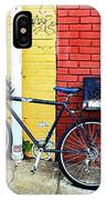 Bike Leaning On The Colorful City Walls Of Asheville  IPhone Case