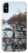 Bikes On The Canal In Amsterdam IPhone Case