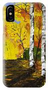 Birch Trees And Road Fall Painting IPhone Case
