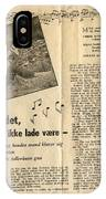 Bits From Danish Article From The Fifties IPhone Case