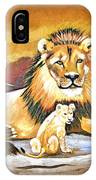 Black Maned Lion And Cub IPhone Case