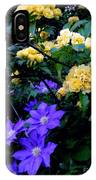 Blue Clematis With Yellow Lady Banks Rose IPhone Case