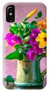 Bougainvilleas In A Green Jar. Valencia. Spain IPhone Case