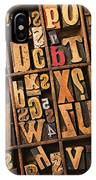 Box Of Old Wooden Type Setting Blocks IPhone Case