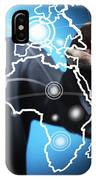Businessman Touching World Map Screen IPhone Case
