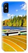 Canoes On Autumn Lake IPhone Case