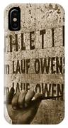 Carving The Name Of Jesse Owens Into The Champions Plinth At The 1936 Summer Olympics In Berlin IPhone Case