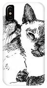 Cat-drawings-siamese-2 IPhone Case
