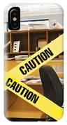 Caution Tape Blocking A Cubicle Entrance IPhone Case