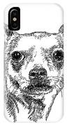 Chiwawa-portrait-drawing IPhone Case