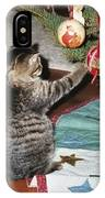 Christmas Kitten Playtime IPhone Case