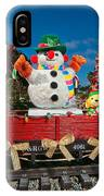 Christmas Snowman On Rails IPhone Case
