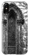 Church Window And Vines Bw IPhone Case