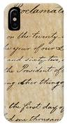 Close-up Of A Copy Of The Emancipation IPhone Case
