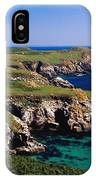 Coastal Cliffs And Seascape With Boat IPhone Case