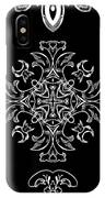 Coffee Flowers Ornate Medallions Bw Vertical Tryptych 1 IPhone Case