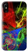 Computer Generated Blue Red Green Abstract Fractal Flame Modern Art IPhone Case