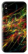 Computer Generated Red Green Abstract Fractal Flame Black Background IPhone Case