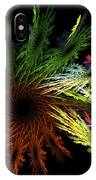 Computer Generated Red Yellow Green Abstract Fractal Flame Black IPhone Case