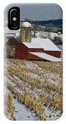 Corn Stubble And Barn In A Wintery IPhone Case