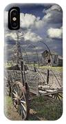 Covered Wagon And Farm In 1880 Town IPhone Case
