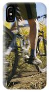 Cyclist Rides Mountain Bike Among Trees IPhone Case
