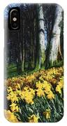 Daffodils Narcissus Flowers In A Forest IPhone Case