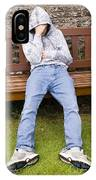 Depressed Teenage Boy On Park Bench. IPhone Case
