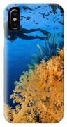 Diver Swimms Above Soft Coral, Fiji IPhone Case