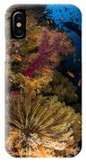 Diver Swims By Soft Corals And Crinoid IPhone Case