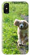 Dog Running In The Green Field IPhone Case