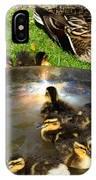 Duck Family Joy In Garden  IPhone Case