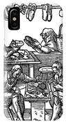 Engraving Of Cobblers Making Leather Shoes. IPhone Case
