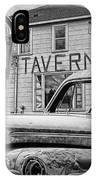 Expired A Black And White Photograph Of A Tavern Parking Meters And Vintage Junk Auto IPhone Case