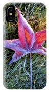 Fallen Autumn Leaf In The Grass During Morning Frost IPhone Case