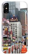 Amidst Color And Construction In Times Square IPhone Case